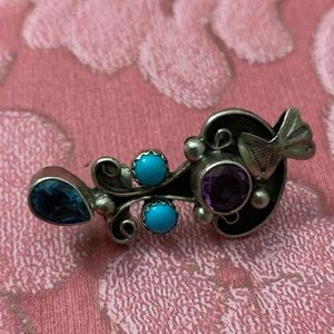 Sterling silver turquoise and amethyst ear cuff